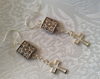 Pretty Antique silver dangle drop earrings with silver plated cross