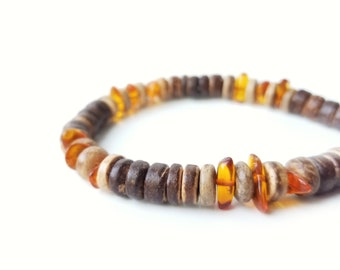 Men's wooden bracelet - made from amber and eco-friendly coconut shell - Pine Resin