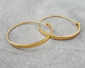 Round Creole Earrings Gold, minimalist creole earrings yellow gold, 16K gilded earrings, medium sized Creole earrings, elegant