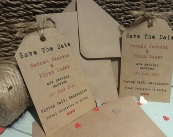 53 Handmade Kraft Brown Personalised Vintage Save the Date Luggage Tags Typewriter Font