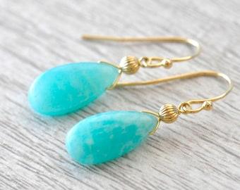14K Gold. Amazonite Earrings,  Aqua Blue Stone Earrings, Natural Amazonite Earrings, Gift For Her,
