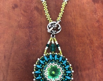 Bead Embroidery Necklace , with Swarovski