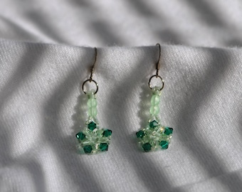 Crystal  Green  Sterling Silver Earrings   Handmade
