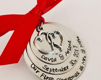 Personalized first christmas married ornament first christmas as Mr. and Mrs. Our first christmas together wedding date ornament custom