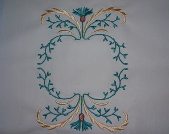 Embroidered Quilt Label Scottish Thistle