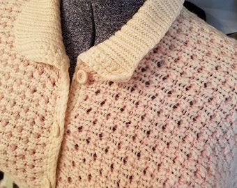 Vintage, 1950s, Pink, Ivory, Knit, Wool, Short Sleeve, Cardigan, Sweater, Jumper