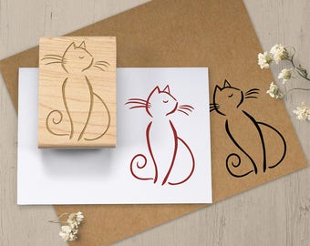 Sophisticated Cat Stamp, Cat Rubber Stamp, Cat Lovers Gift, Feline Stamp, Kitty Stamp, Crazy Cat Lady, Scrapbook Stamp, Animal Stamp 078