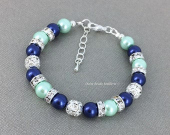 Navy and Mint Bracelet Navy and Mint Jewelry Bridesmaids Bracelet Mint Bracelet Bridesmaids Jewelry Mint and Navy Wedding