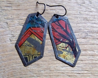 Recycled  tin earrings     *19
