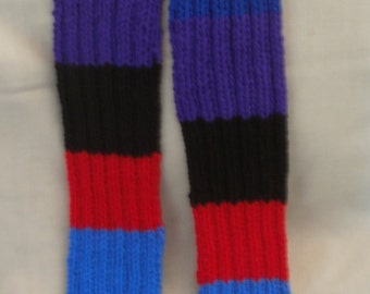 Hand knit Scarf - Blue & Red multi-colored