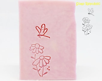 SoapRepublic 'Dragonfly & flowers' Acrylic Soap Stamp / Cookie Stamp / Clay Stamp