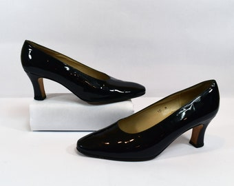 Talbots Vintage 80s Black Patent Leather Pump Heels Size 10M Made in Spain