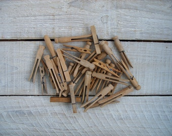 30 Vintage Wooden Clothespin Variety ~ Assortment of Wood Clothespins ~ Flat Peg Clip Clothes Pins ~ Rustic Farmhouse Laundry Room Decor