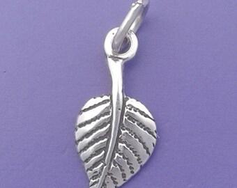 ASPEN LEAF Charm .925 Sterling Silver Autumn Leaves Miniature Small - elp1737