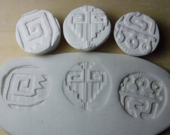 3 clay stamps / pottery tools / Aztec, Mayan, Celtic, Native / textural stamps / ceramic stamps / texture stamp / porcelain stamp A33