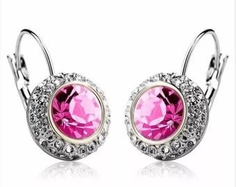 Faceted Pink Rhinestone Crystal Dangle Earrings ON SALE