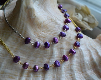 Purple pearls necklace - CLEARANCE