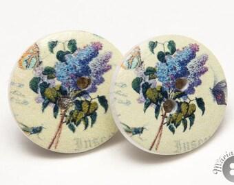 wood button earrings blue flowers - boucle d'oreilles boutons de bois fleurs bleues