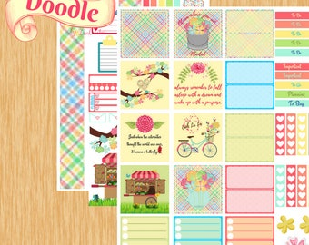 Spring Colors|Classic Happy Planner Stickers|Horizonal Classic Happy Planner Layout Stickers|Create 365 Stickers|MAMBI Stickers