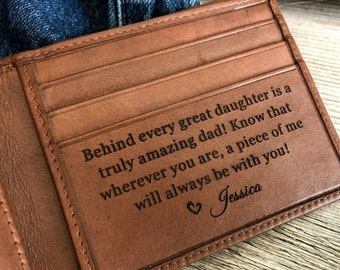 Personalized men's wallet • custom engraved wallet •  personalized gift for dad, monogrammed wallet • Fathers day gift • Toffee  7751 >