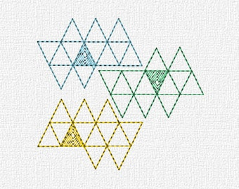 Geometric Triangles Embroidery Machine Design Instant Download 4x4 Modern