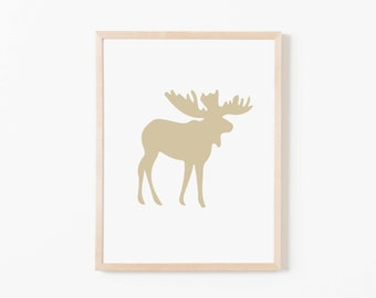 Taupe Moose Nursery Art. Nursery Wall Art. Nursery Prints. Animal Wall Art. Boy Wall Art. Adventure Nursery. Moose Print. Instant Download.
