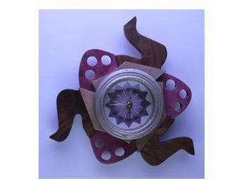 Fidget clock - fushia pink and brown