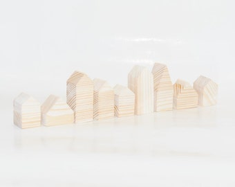 Miniature wooden houses. Set of 9 pieces. The small village for home decor