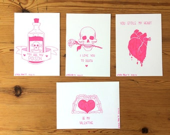 Creepy Valentines - carte postale les illustration originale
