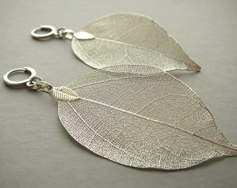 Silver Leaf Earrings Silver Plated Real Leaf Earrings for Women Organic Leaf Jewelry for Womens Gift Silver Dipped Leaf Earrings for Girl