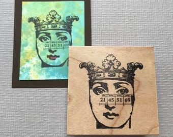 Crown Number Lady Collage Rubber Stamp