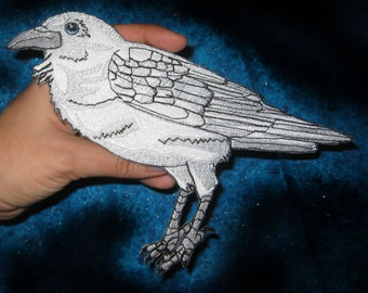 Awesome Huge White Spirit Raven Crow Black Bird  Iron ON Patch 100% embroidery