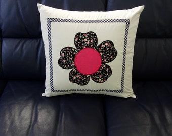 Floral Applique Cushion Cover