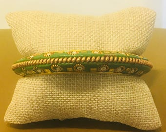 Green Painted Wooden Bangle with Gold Embellishments