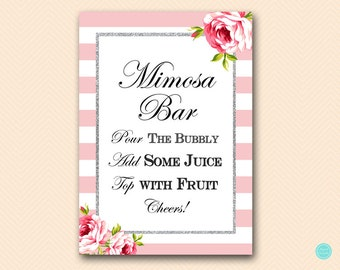 Silver Pink Mimosa Bar Sign, Mimosa Bar Printable, Bubbly Bar Sign, Mimosa Sign, Mimosa Bar, Bridal Shower Decoration TLC50 BS11