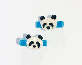 Glitter Felt Panda Bear Hair Clip, Panda Bear Hair Bow, set of two
