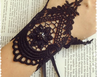 """Black Victorian Lace Cuff Bracelet-Vintage Inspired Lace Wrist Corset-Gothic,Rococo,Steampunk,Vampire,Maleficent Costume-""""ANGELINA luxe"""""""