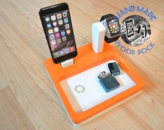 iphone charging station Wood docking station Gift Watch stand IDOQQ Ultimate 2 Oak Orange White Dock, iphone 5, 6, 7, X