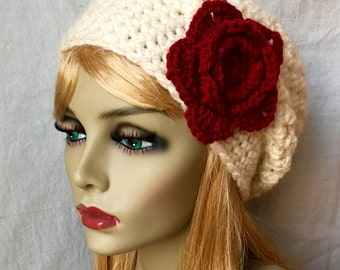 Red Valentines Womens Hat, Crochet Beret, Cream, Custom Color, Chunky, Flower, Teens, City Hat, Birthday Gifts for Her, Valentines JE505BTF8