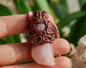 Rose Quartz pendant Necklace Handsculpted Clay -  Fantasy Fairy Pixie Woodland Forest Magic