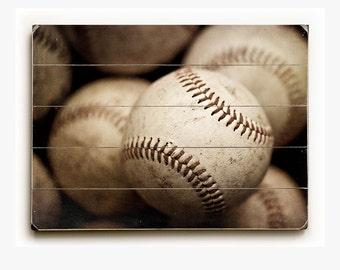 Wood Sign: Worn Baseballs Wood Plank, Sports Decor, Baseball Decor, Sports Wall Decor, Sports Pictures, Man Cave, Game Room, Art for Men.