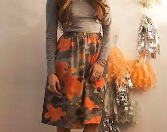 The Koi Camo Print Midi Skirt