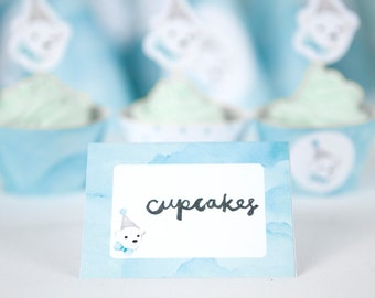 Snow party food cards, polar bear printable food tents for snow party or winter wonderland theme party, boys first birthday