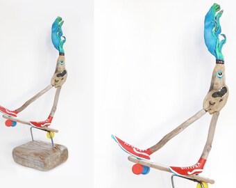 Driftwood art upcycling art from driftwood sculpture Skater jevo