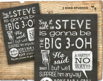 Surprise 30th birthday invitation casino theme party surprise party invitation adult surprise birthday invites surprise party chalkboard invitation 30th birthday 40th 50th 60th filmwisefo