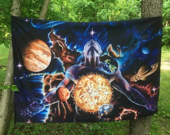 """Tapestry of """"Innerverse"""" by Jack Henry Art ~ Made with Recycled Water Bottles!"""