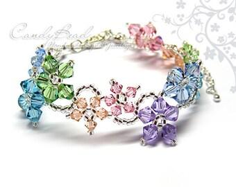 Rainbow bracelet; crystal bracelet; Swarovski bracelet; Glass bracelet;Swarovski Crystal Bracelet, Flora bracelet mix colors