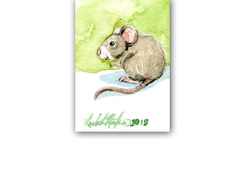 Mouse New Mom Spring by llmartin Original ACEO Watercolor Baby Nursery Free Shipping USA Mice