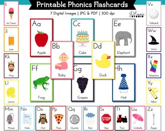 Alphabet Flashcards-Alphabet Lesson-Printable ABC Flash Cards-Grammar-Education-Teachers-Printables-Learning-Alphabet-Instant Download