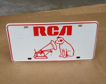 rca victor nipper dog sign license plate vintage,radio phonograph advertising,His master voice